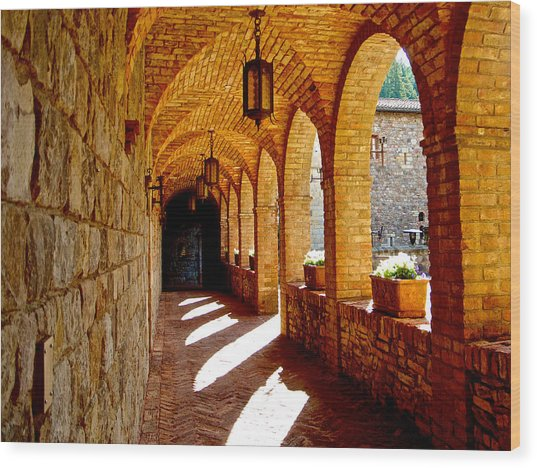 Archway By Courtyard In Castello Di Amorosa In Napa Valley-ca Wood Print