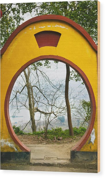 Archway With Trees In The Background Wood Print