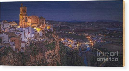 Arcos De La Frontera Panorama From Balcon De La Pena Cadiz Spain Wood Print