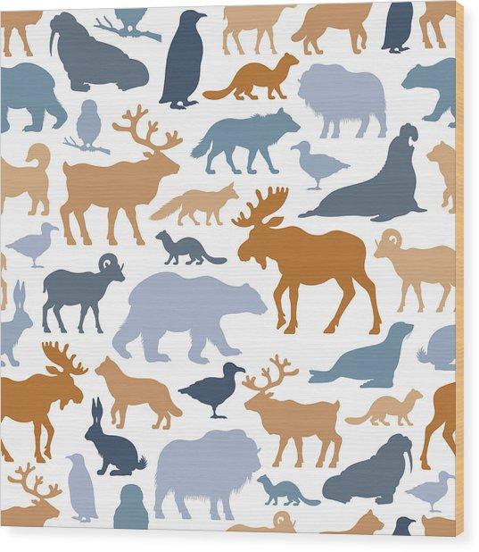 Arctic Animals Pattern Wood Print by Alonzodesign