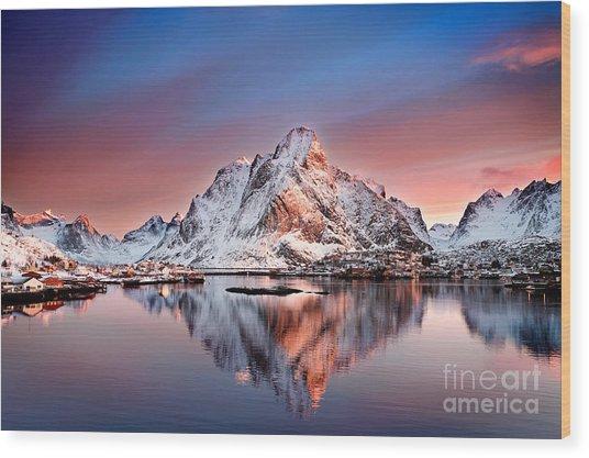 Arctic Dawn Over Reine Village Wood Print