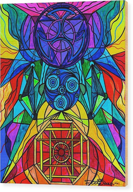 Arcturian Conjunction Grid Wood Print