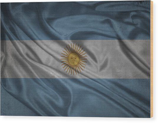 Argentinian Flag Waving On Canvas Wood Print