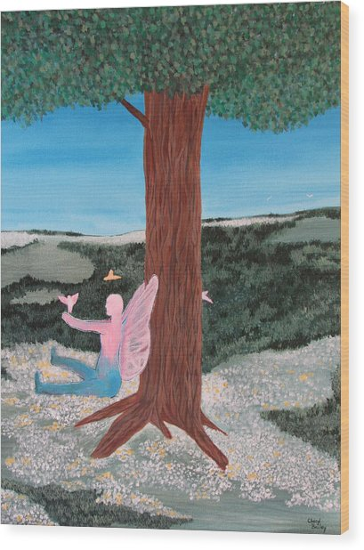 Ariel And The Tree Of Life Wood Print