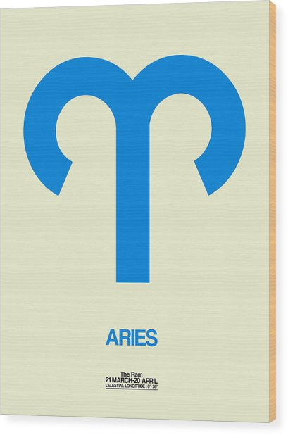 Aries Zodiac Sign Blue Wood Print