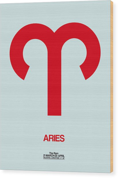 Aries Zodiac Sign Red Wood Print