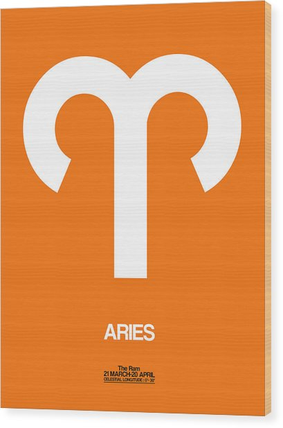Aries Zodiac Sign White On Orange Wood Print