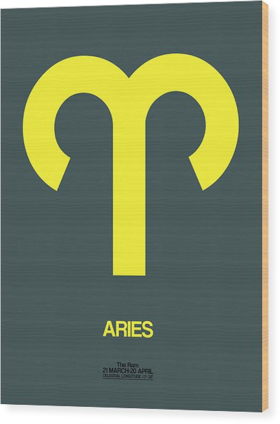 Aries Zodiac Sign Yellow Wood Print