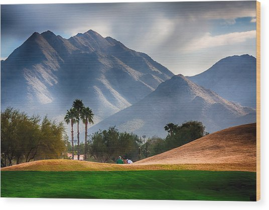 Arizona Sunrise Golfing Wood Print