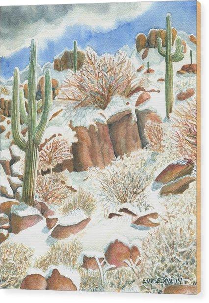 Arizona The Christmas Card Wood Print