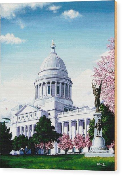 Arkansas Capitol Blossoms Wood Print