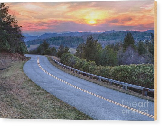 Around The Bend - Blue Ridge Parkway Wood Print