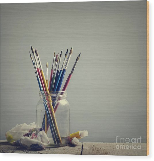 Art Brushes Wood Print