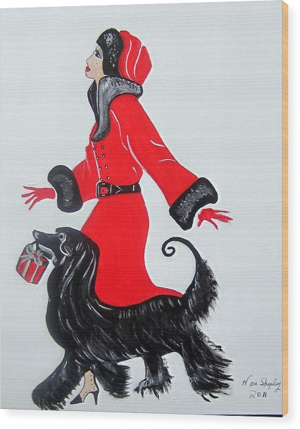Art Deco  Girl With Red  Coat Wood Print