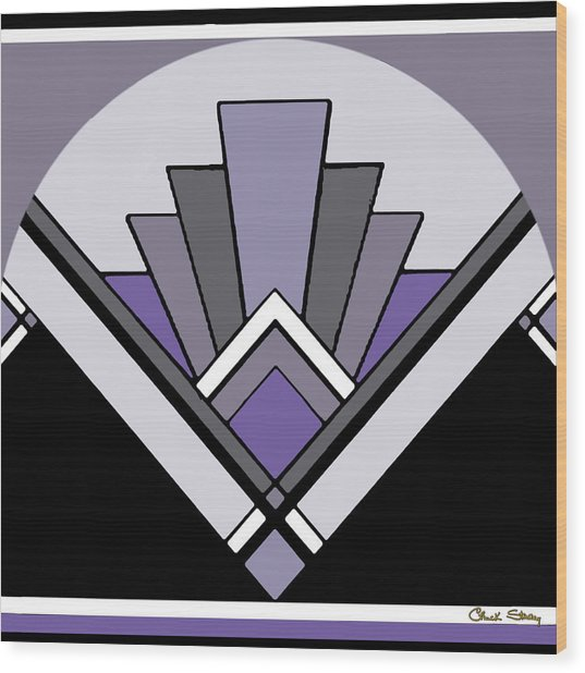 Art Deco Pattern Two - Purple Wood Print