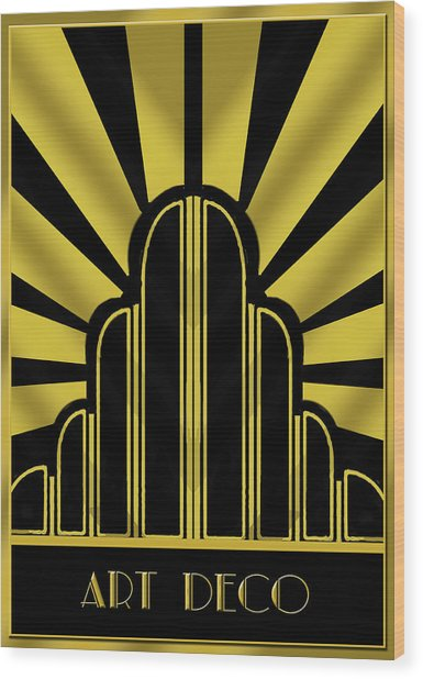 Art Deco Poster - Title Wood Print