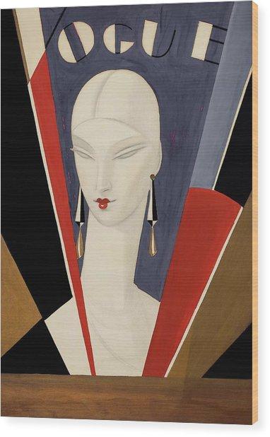 Art Deco Vogue Cover Of A Woman's Head Wood Print by Eduardo Garcia Benito
