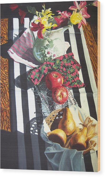 art for sale still life oil painting print Stripes and Fruit Forever  Wood Print by Diane Jorstad