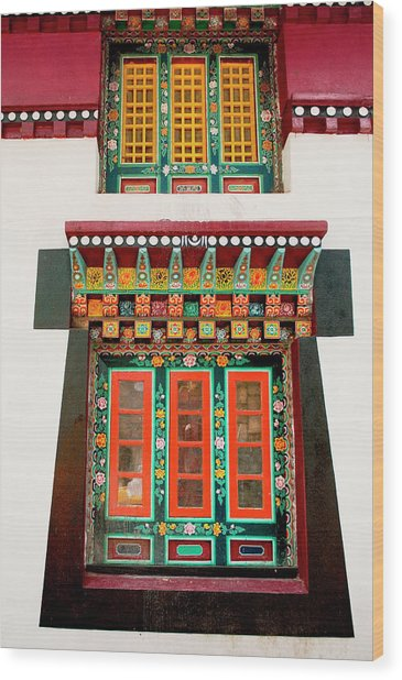 Art In Monastery Architecture, Sikkim Wood Print by Jaina Mishra