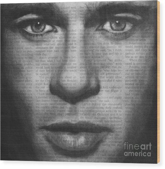 Art In The News 32- Brad Pitt Wood Print