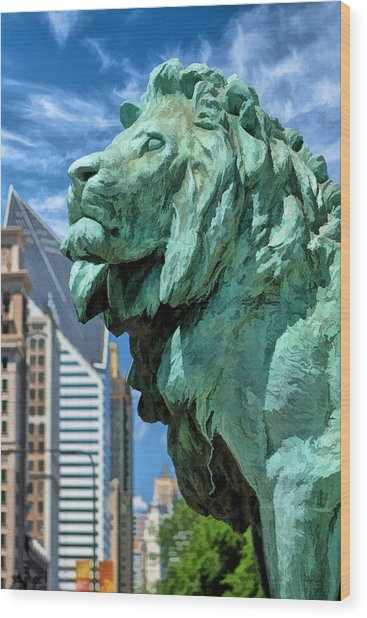 Art Institute In Chicago Lion Wood Print