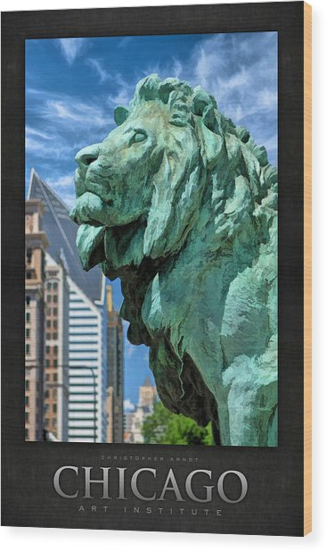 Art Institute In Chicago Lion Poster Wood Print