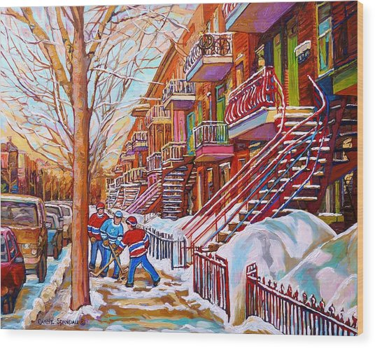 Art Of Montreal Staircases In Winter Street Hockey Game City Streetscenes By Carole Spandau Wood Print