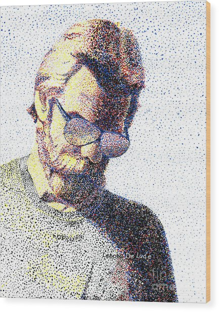 Art Pointillism Male Portrait  Wood Print