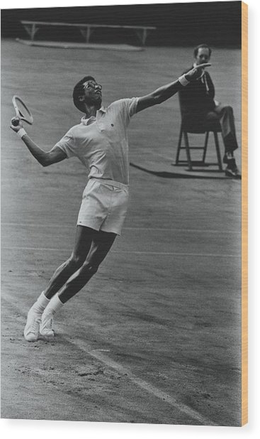 Arthur Ashe Playing Tennis Wood Print