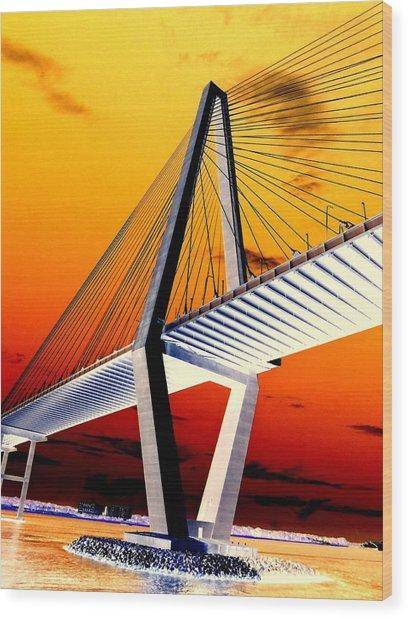 Arthur Ravenel Bridge 18 Wood Print by Ron Kandt
