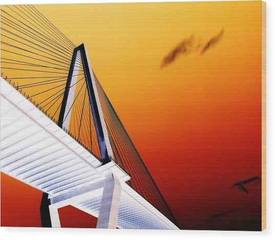 Arthur Ravenel Bridge 25 Wood Print by Ron Kandt