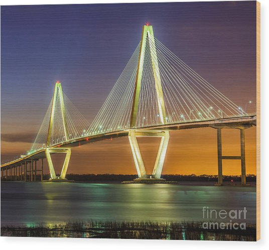 Arthur Ravenel Bridge Twilight Wood Print