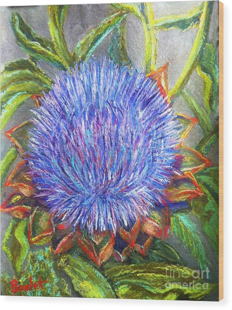 Artichoke Blossom Wood Print