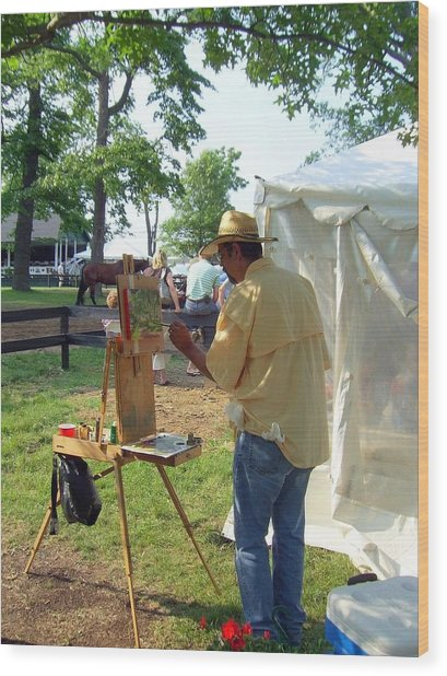 Artist At Upperville Wood Print