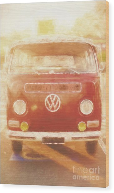 Artistic Digital Drawing Of A Vw Combie Campervan Wood Print