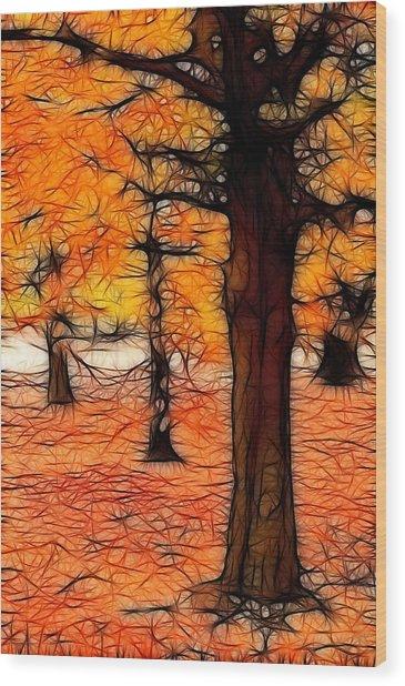 Artistic Fall Trees Wood Print