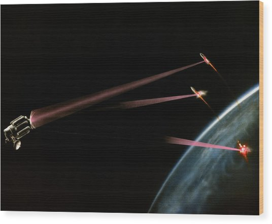 Artist's Impression Of Space-based Sdi Laser Wood Print by Us Department Of Energy / Science Photo Library