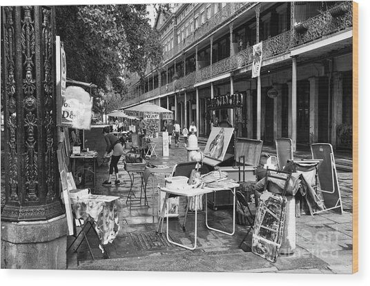Artists In The Square Mono Wood Print by John Rizzuto