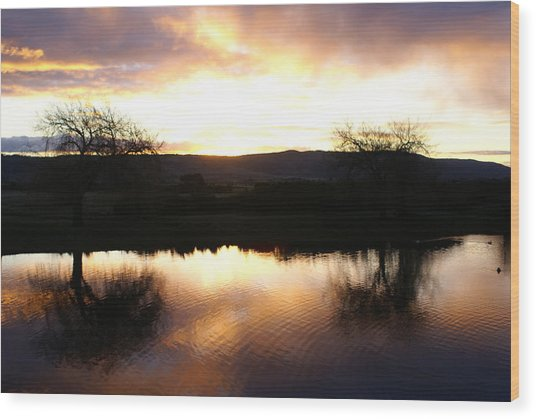 As Day Meets Dusk Wood Print by Judy Powell
