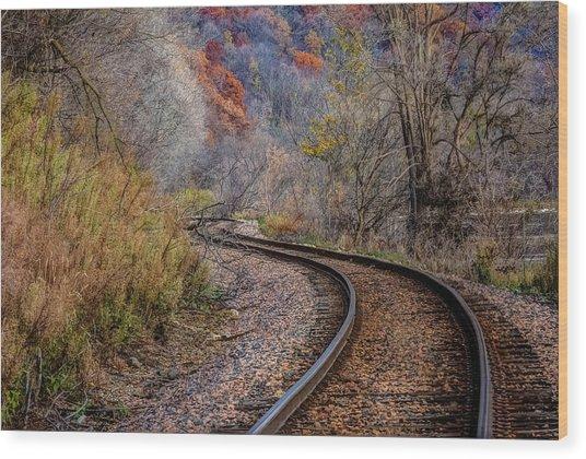As I Walk The Tracks I Think Wood Print