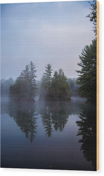 As The Fog Rolls In Wood Print