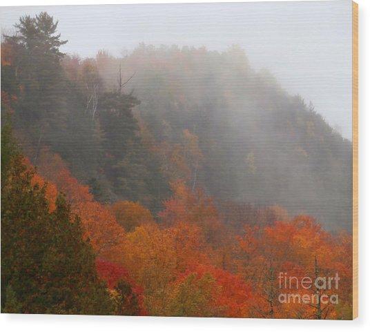 As The Fog Rolls In Wood Print by Steven Valkenberg