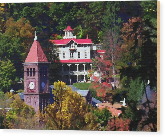 Asa Packer Mansion With Court House In Jim Thorpe Pa Wood Print by Jacqueline M Lewis