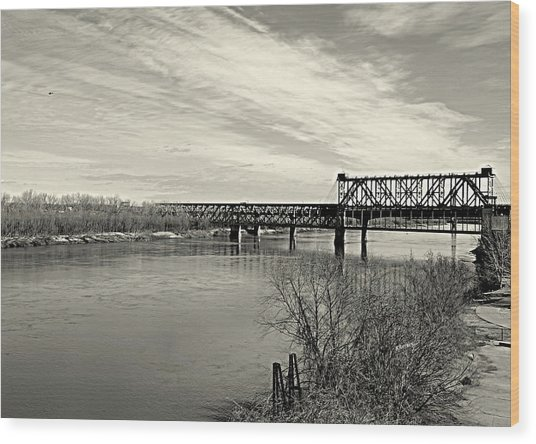 Asb Bridge Over The Missouri River Wood Print
