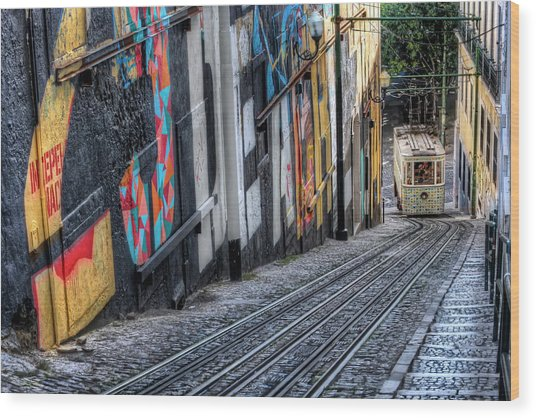 Ascensor Do Lavra Lisbon Wood Print
