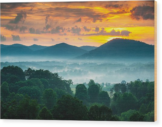 Asheville Nc Blue Ridge Mountains Sunset - Welcome To Asheville Wood Print