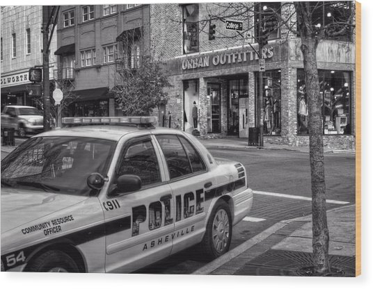 Asheville Pd Car 54 In Black And White Wood Print