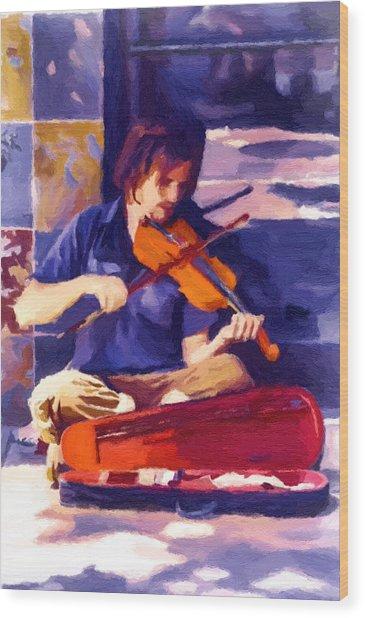Asheville Street Concerto Wood Print by John Haldane