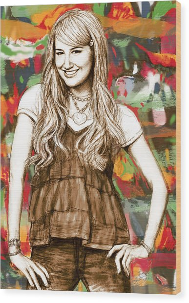 Ashley Tisdale - Stylised Drawing Art Poster Wood Print by Kim Wang