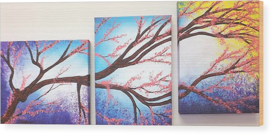 Asian Bloom Triptych Wood Print